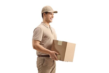 Delivery man holding a package isolated on white background