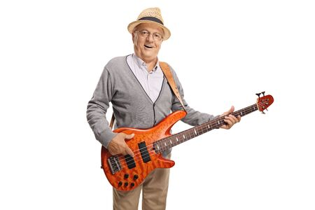 Elderly gentleman playing a bass guitar isolated on white background 写真素材