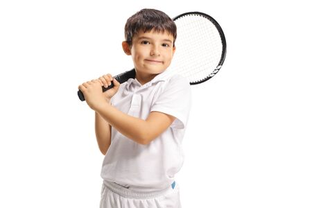 Boy holding a tennis racket isolated on white Stock Photo