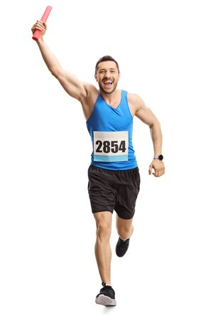 Full length portrait of a man running a relay race with a baton in his hand isolated on white