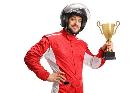 Racer with a helmet holding a gold trophy cup isolated on white