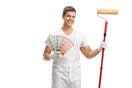 House painter with a color  and a paint roller isolated on white
