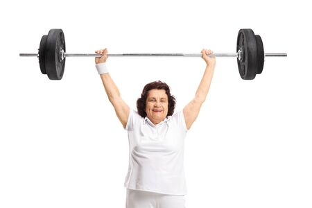 Strong elderly woman lifting a barbell isolated on white background