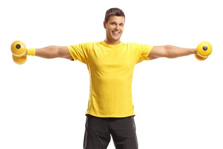 Young man exercising with dumbbells isolated on white background