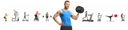 Muscular guy lifting weights and many people exercising isolated on white Archivio Fotografico