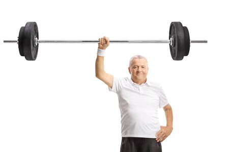 Strong mature man lifting a barbell with one hand isolated on white