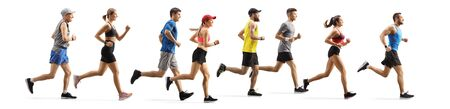 Full length profile shot men and women running a marathon isolated on white background