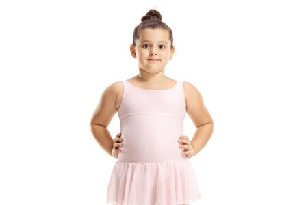 Cute little girl in a pink ballet dress isolated on white 版權商用圖片