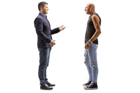 Full length profile shot of a man talking to a middle-aged hipster isolated on white background