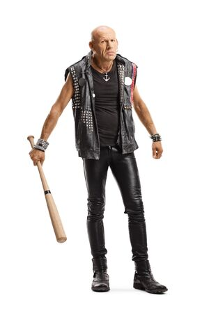 Full length portrait of an angry bald man in leather clothes holding a bat isolated on white