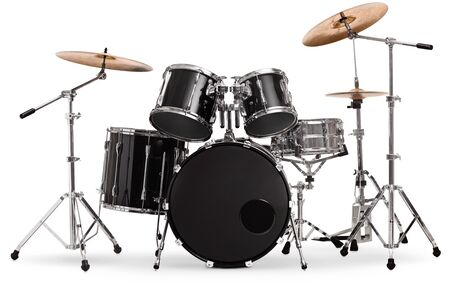 Studio shot of a black and silver drum kit isolated on white background Stock Photo