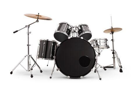 Satz Schlagzeug isoliert auf weißem Hintergrund