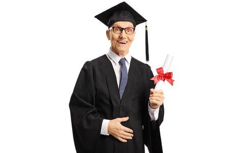 Senior male graduate holding a university degree isolated on white background