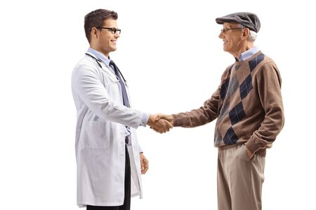 Male doctor shaking hands with an elderly man isolated on white background