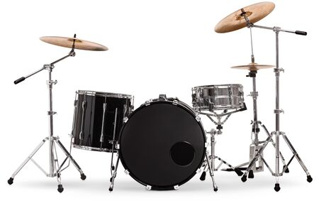 Studio shot of a percussion drum set isolated on white background