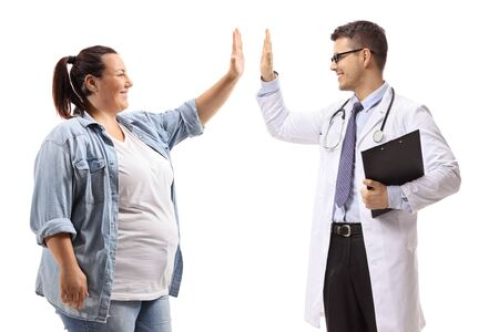 Overweight woman high-fiving a doctor isolated on white background