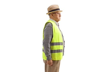 Elderly man with a safety vest standing isolated on white background Reklamní fotografie