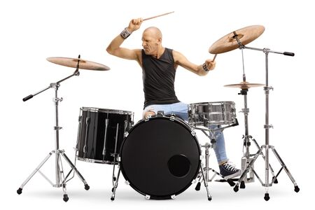 Bald man musician playing drums isolated on white background