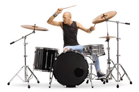 Kale man muzikant drummen geïsoleerd op witte achtergrond Stockfoto