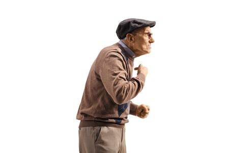 Profile shot of a tensed senior man pointing at himself isolated on white