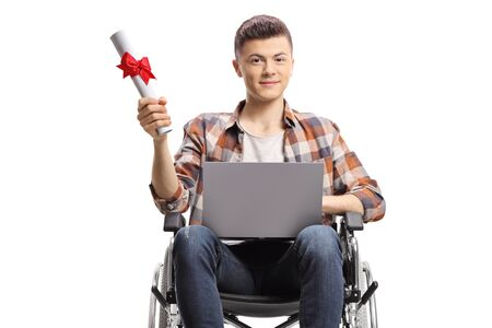 Disabled student in a wheelchair with a laptop and graduation certificate isolated on white background Banco de Imagens