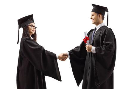 Absolventen Händeschütteln isoliert auf weißem Hintergrund Standard-Bild