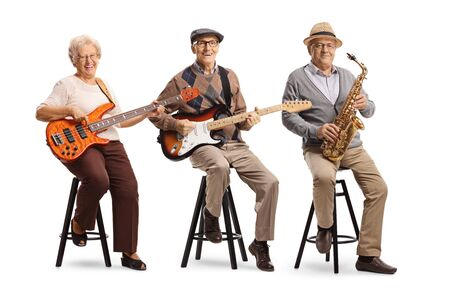 Elderly people sitting and playing musical instruments isolated on white background Banque d'images