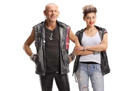 Punk people posing isolated on white background Imagens