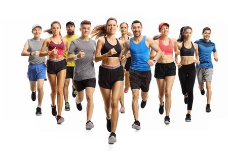 Full length portrait shot of many young and older people running in sportswear isolated on white background