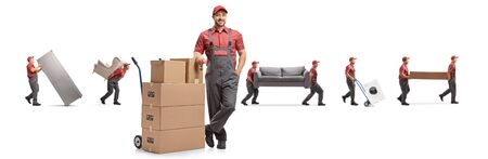 Worekrs from a removal company isolated on white background