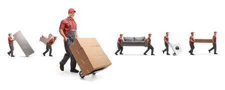Male workers carrying furniture and boxes on a hand-truck isolated on white background