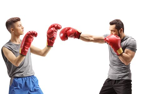 Men training box isolated on white background