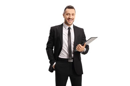 Businessman holding a clipboard with a document isolated on white background
