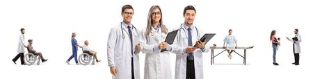 Team of doctors posing and patients with other doctors in the back isolated on white background Stock Photo