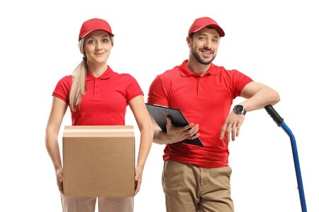 Delivery workers with boxes and a hand truck isolated on white background