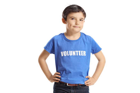 Kid volunteer in a blue t-shirt isolated on white background Imagens