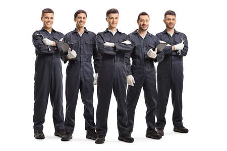 Team of five auto mechanic workers in uniforms isolated on white background Imagens