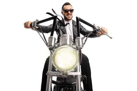 Biker with sunglasses riding a custom chopper isolated on white background