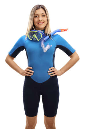 Woman in a snorkeling suit and mask with tube isolated on white background