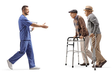 Medical healthcare worker greeting elderly patients with walkers isolated on white background