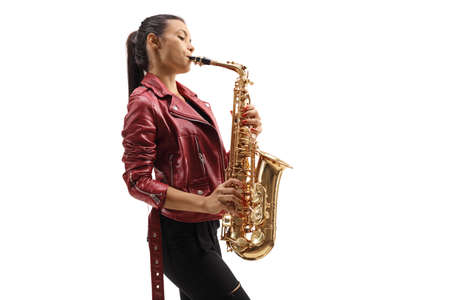 Full length profile shot of a female saxophonist performing isolated on white background