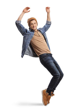 Guy in casual wear dancing and raising hands up isolated on white background Stock Photo