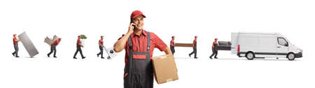 Mover talking on a mobile phone and other workers putting household items in a white van isolated on white background