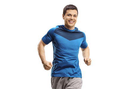 Man jogging towards the camera isolated on white background