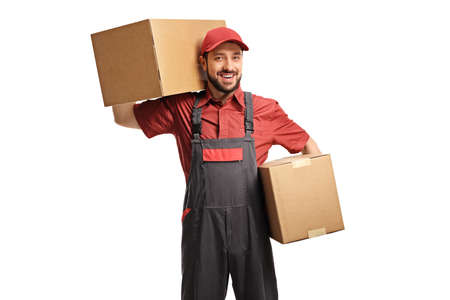 Male worker holding two cardboard boxes isolated on white background