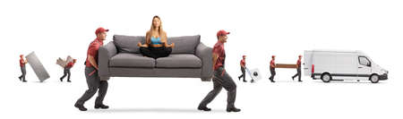 Movers with a van carrying a couch with a young woman in sportswear meditating isolated on white background