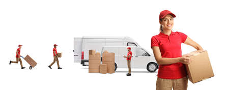 Female courier holding a cardboard box and male workers loading transport vans isolated on white background