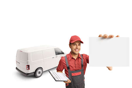 Male courier with a van holding a clipboard and a blank card isolated on white background