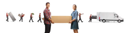 Young man and woman carrying a box and movers with a van in the back isolated on white background
