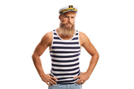 Serious young sailor captain with beard and moustaches isolated on white background Archivio Fotografico